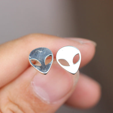 alien emoji earrings sterling silver extraterrestrial pendant space science geekery jewelry  quirky kitschy UFO charm