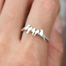 Custom bird ring,Personalized bird ring,silver ring,dainty silver bird ring,Personalized Family jewelry