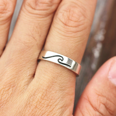 Sterling silver Wave Ring, Surfer ring,  Surf ring, Surf Jewelry, Ocean Jewelry, Wave Jewelry