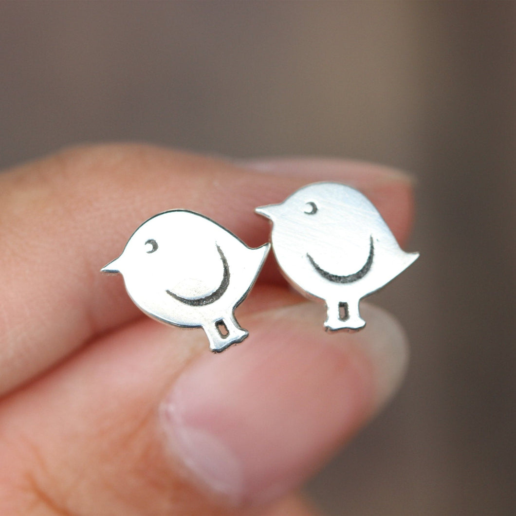 Sterling silver bird Stud Earrings,cute earrings,Daughter gift,