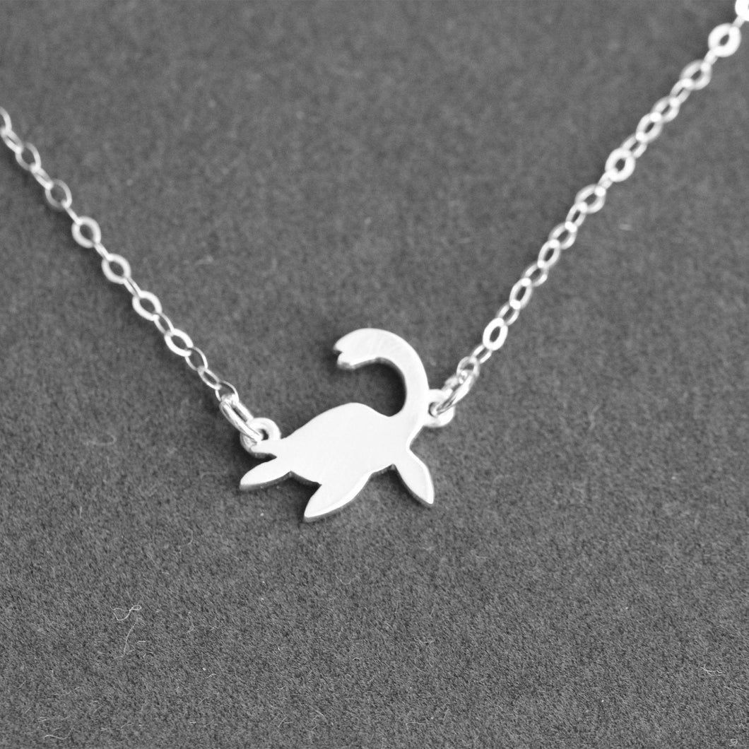Loch Ness Monster, sterling silver necklace,Dinosaur necklace, Elasmosaurus Dinosaur , Cryptozoology Gift, Dinosaur gift, Scientific gift