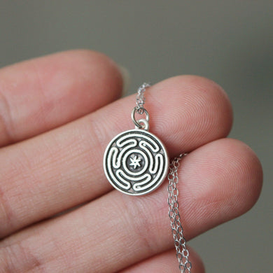Sterling silver Hekate necklace magic Strophalos necklace Wheel of Hecate symbol talisman choker sharm amulet medallion talisman sin