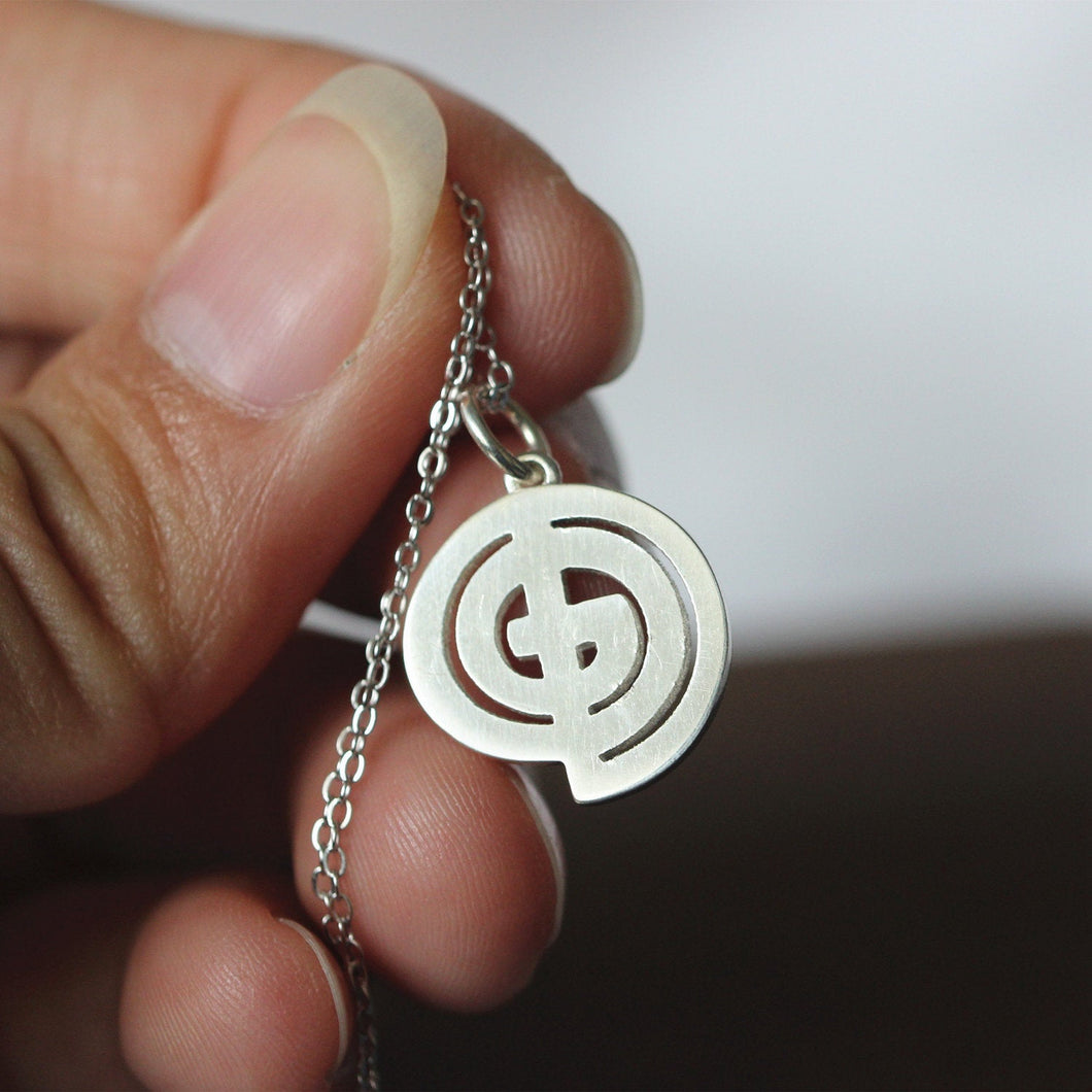 Sterling silver necklace God Symbol jewelry monogram G,O,D