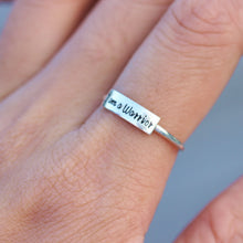 engraved message ring I am a warrior,Sterling silver ring,friendship gift,