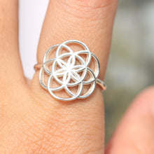 Sterling silver Geometric Circle Shapes ring,Seed of life ring,Geometry Flower of Life ring,silver Circle ring,Women Rings