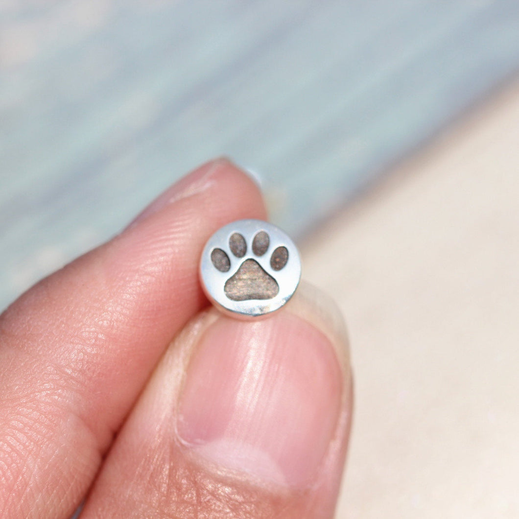 Dog Paw Earrings,silver paw print earrings ,Cat Paw stud earrings,Paw Jewelry -1 pairs