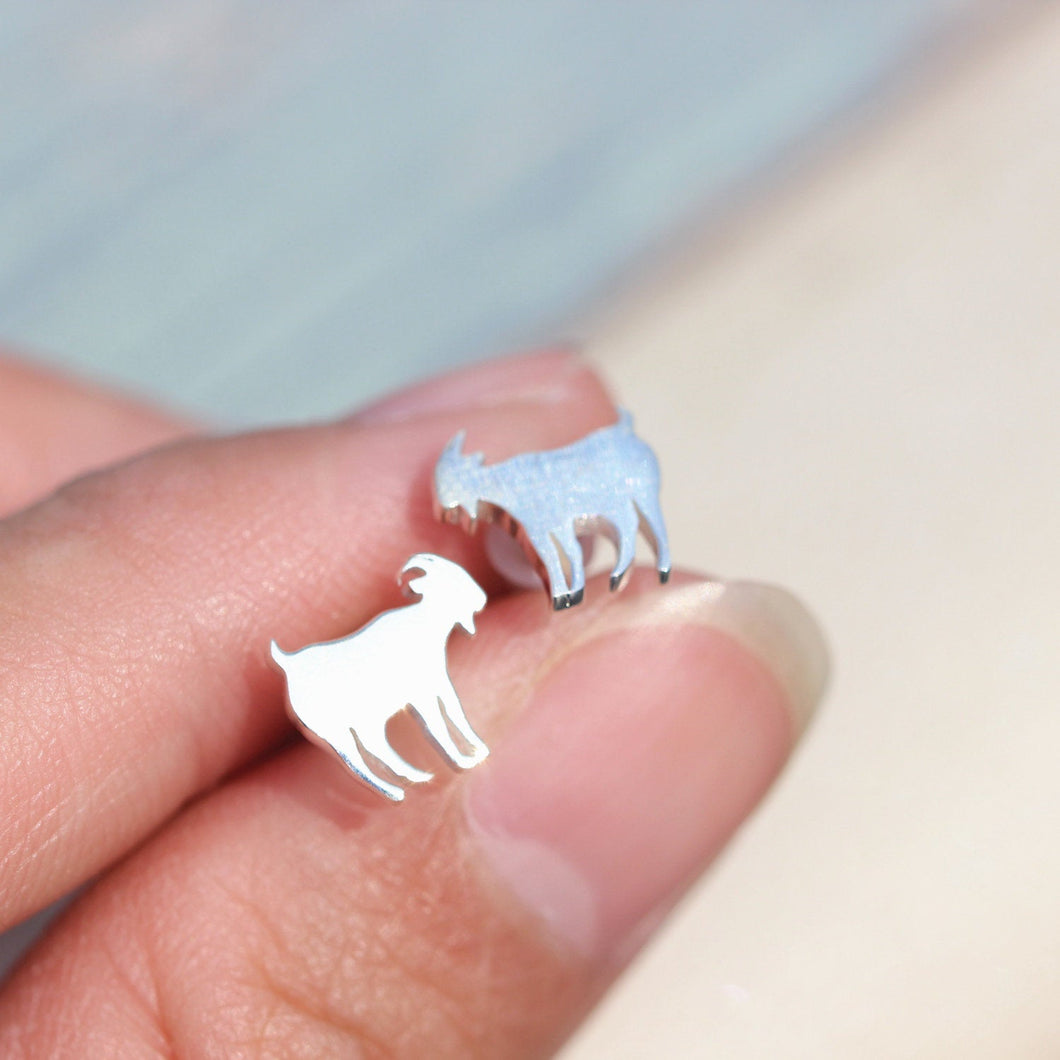 925 sterling silver Goats post earrings,silver Goats stud earrings,sheep earrings,Minimal Jewelry Teen gift for her