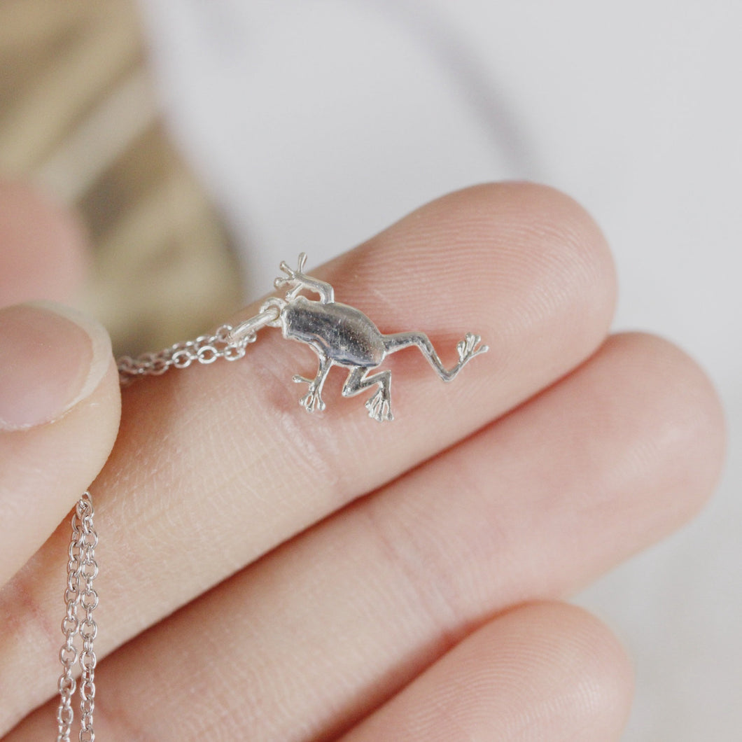 925 sterling silver Tree Frog necklace,silver pet,925 sterling silver jewelry,Animal Jewelry