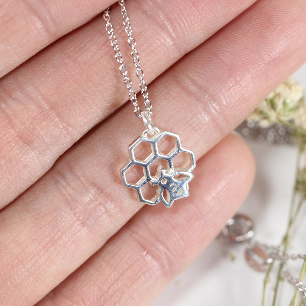Honeycomb and bee charm necklace,sterling silver necklace,jewelry,necklace,honeycomb jewelry,harvest jewelry,animal jewelry