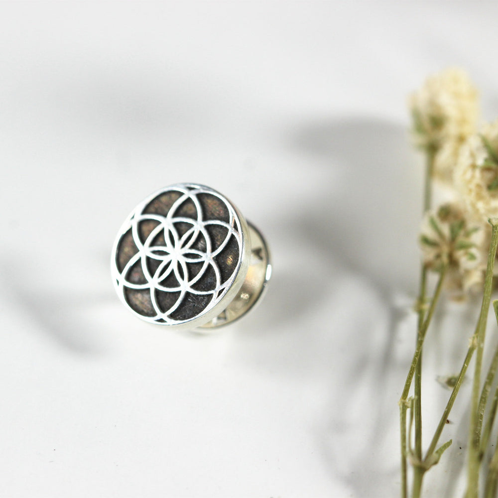 Load image into Gallery viewer, silver Seed of life brooch pin,silver Geometric brooch,sterling silver jewelry,jewelry,wedding party gifts,mens suit lapel pin,suit gift