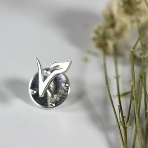 Load image into Gallery viewer, silver Vegan brooch pin jewelry,sterling silver,Vegetarian V pin brooch silver,dress jewelry,Vegan Jewelry,minimalist brooch pin
