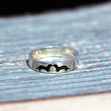 lover Sea Otter Ring, Sterling Silver Otter Ring, Gift for Him, Gift for Her, animals jewelry