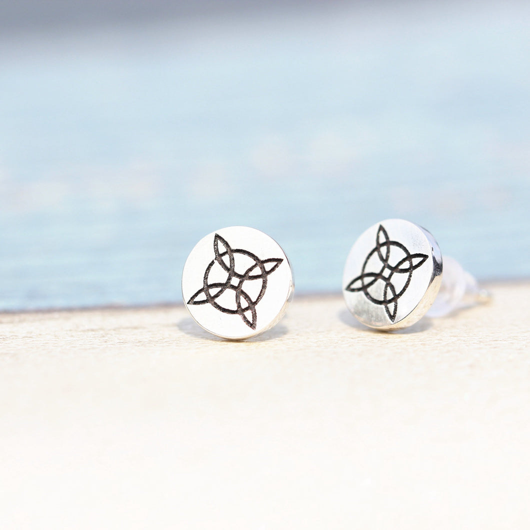 925 sterling silver Compass Rose Sailors Knot stud earrings
