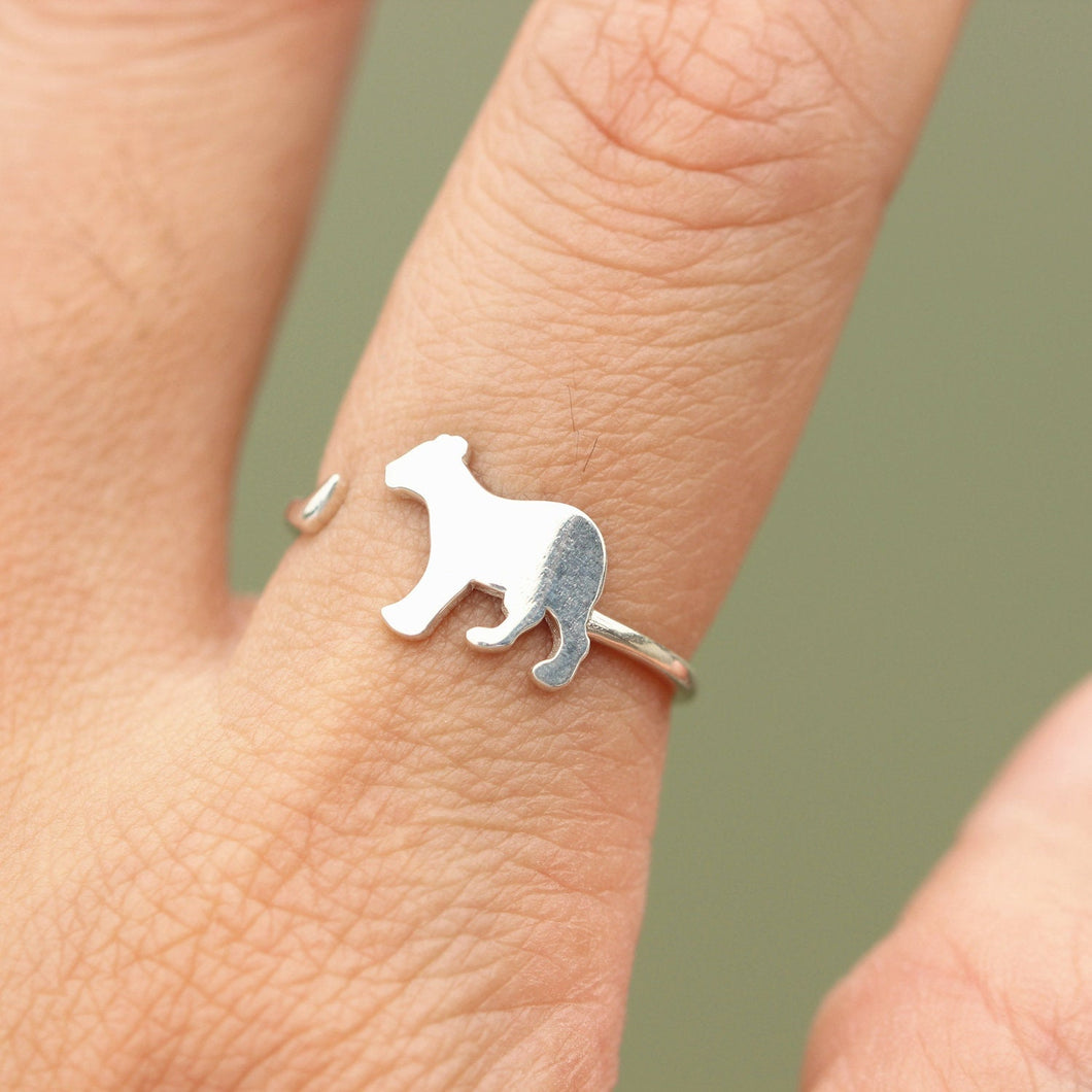 Sterling silver LION ring,Adjustable Ring, Animal Jewelry,Delicate simple everyday jewelry