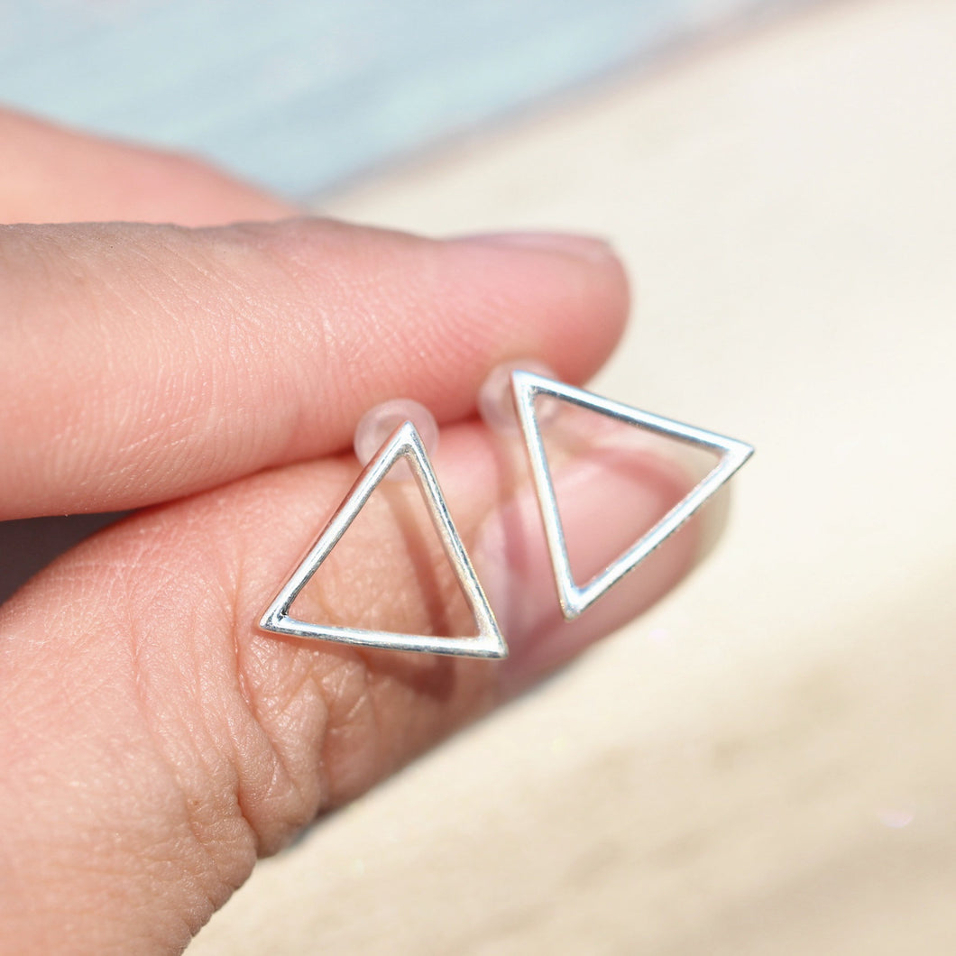sterling silver triangle earrings minimalist