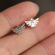 Sterling silver Triforce Zelda earrings,The Legend of Zelda inspired jewelry,tiny silver stud earrings,fan jewelry,gift idea for her