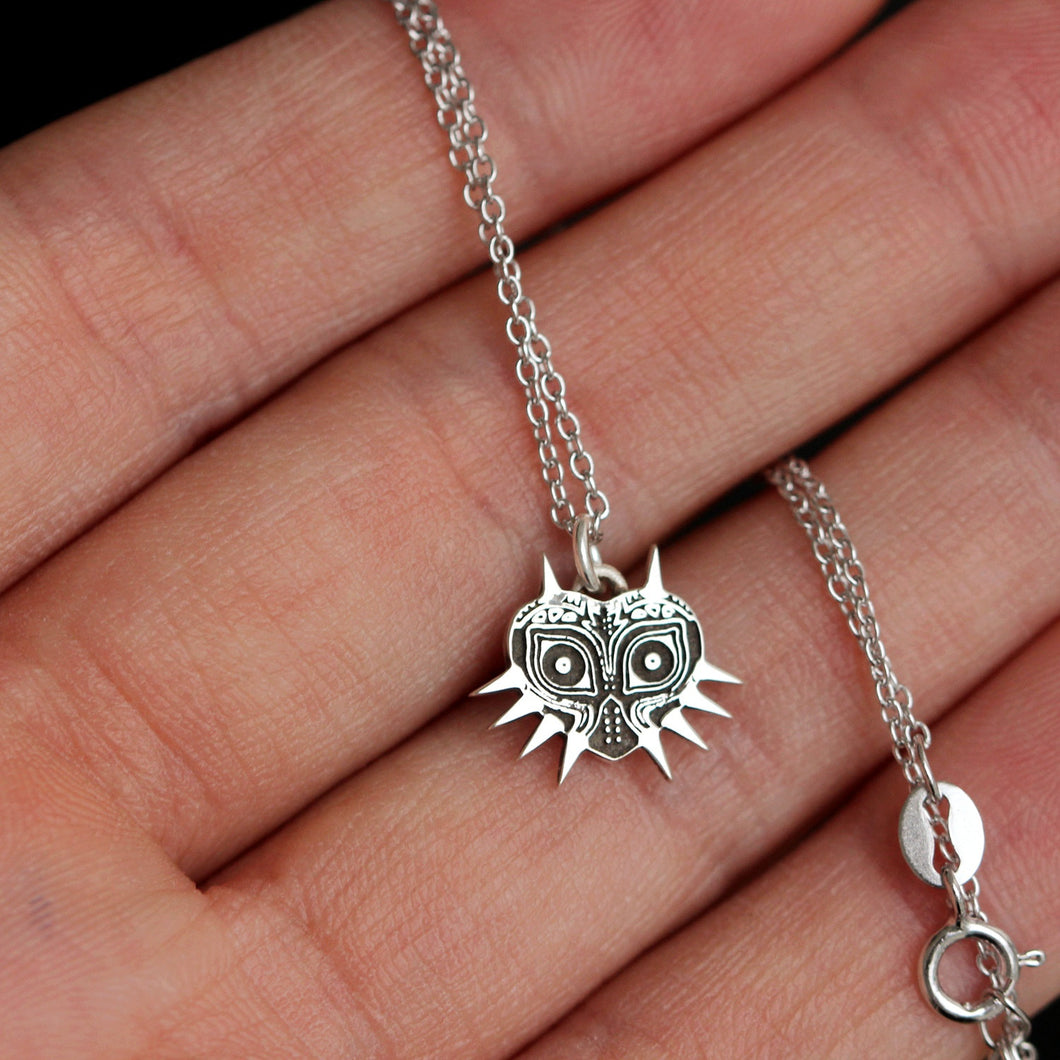 Sterling silver The Legend of Zelda necklace,sterling silver majoras mask necklace,silver jewelry
