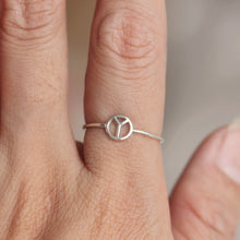 Dainty Silver Peace sign ring,sterling silver ring,Silver Promise Ring,stakable ring,midi ring,gift idea,
