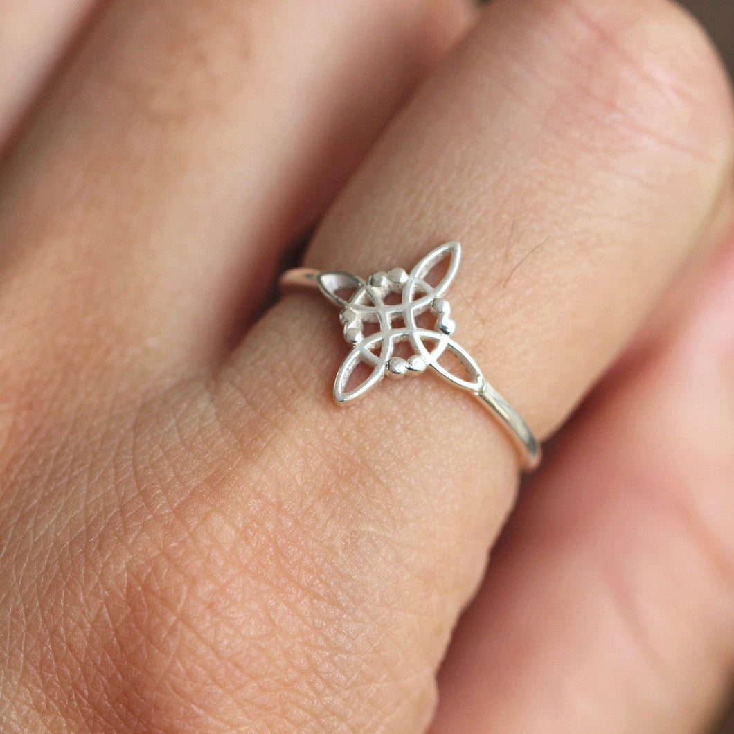 sterling silver infinite knot ring,Cross Knot ring,Celtic cross ring, love knot ring,Irish jewelry,meanfully jewelry