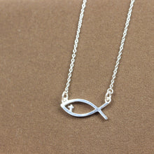 jesus fish necklace,Christian Fish necklace, Christian Jewelry, Sterling silver necklace,Baptism Gift, Christian Gifts,Religious necklace