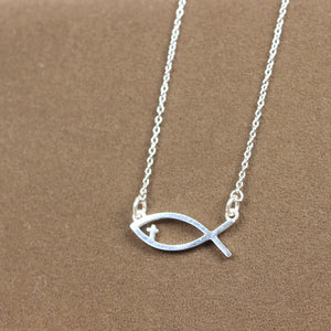 Load image into Gallery viewer, jesus fish necklace,Christian Fish necklace, Christian Jewelry, Sterling silver necklace,Baptism Gift, Christian Gifts,Religious necklace
