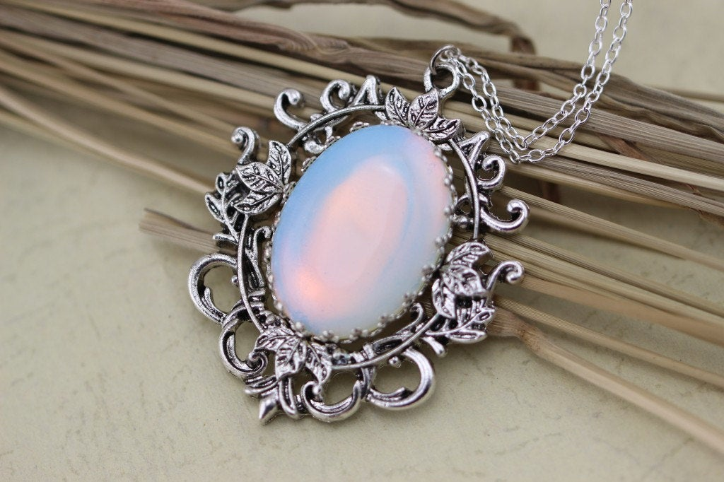 Silver Moonstone Necklace Wedding Jewelry Bridesmaid Gift Victorian Style Charm Christmas Gifts C191N-1_S
