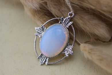 Antique Silver Moonstone Necklace Maple Leaf Jewelry Bridesmaid Gift Victorian Style Christmas Gifts