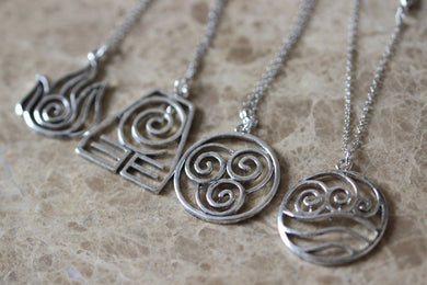 4pcs 4 Nations - Antique Silver Avatar The Last Airbender Necklace
