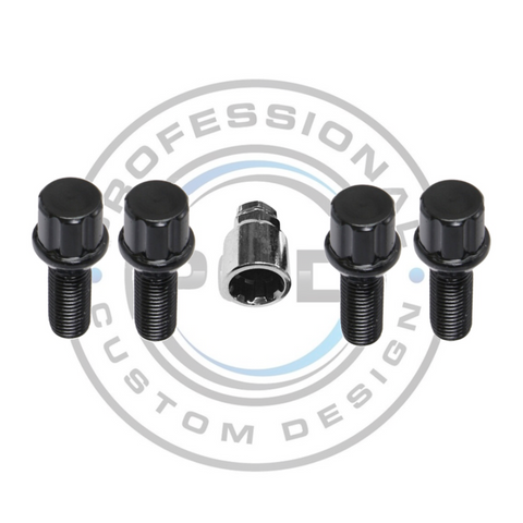 Black M12 x 1.5 Radius Locking Bolts