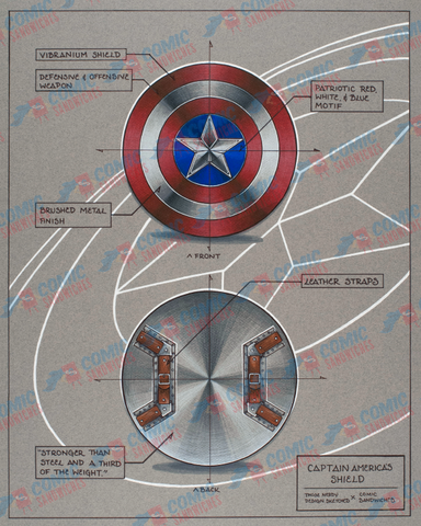 Captain America Shield - Framed Print - ThoseNerdySketches - Comic Sandwiches Prop Replicas