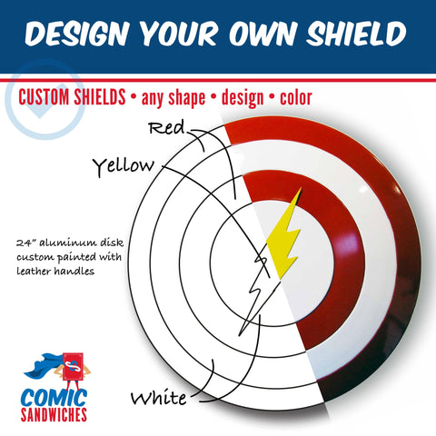 Design Your Own Shield - Custom Metal Shields - Comic Sandwiches Prop Replicas