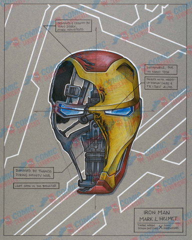 Iron Man Helmet - Original Artwork - ThoseNerdySketches - Comic Sandwiches Prop Replicas