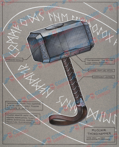 Mjolnir - Original Artwork - ThoseNerdySketches - Comic Sandwiches Prop Replicas