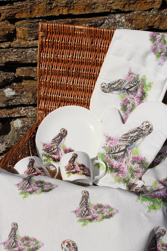 Orkney Storehouse | Short-eared Owl Tea Towel Lifestyle