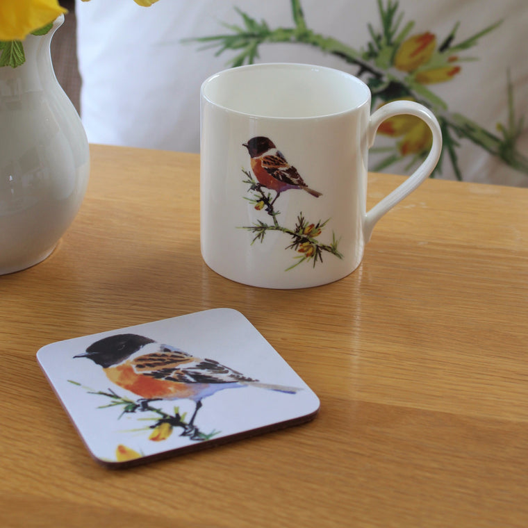 Orkney Storehouse | Stonechat Mug and Coaster Set