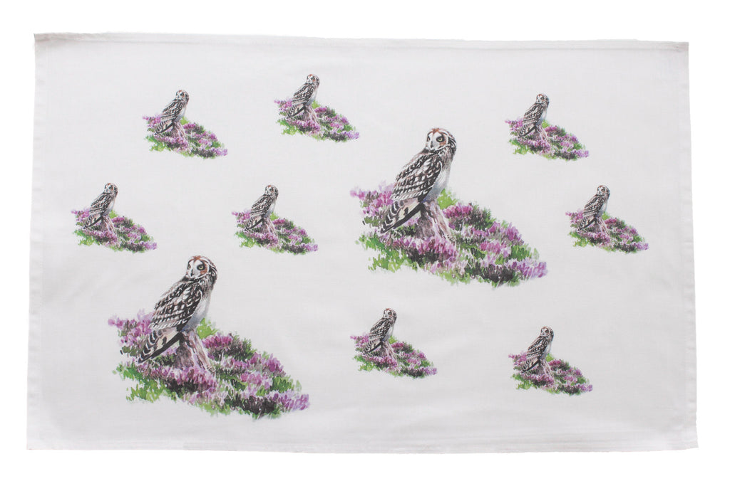 Orkney Storehouse | Short-eared Owl Tea Towel Repeating Product