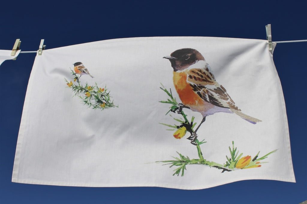 Orkney Storehouse | Stonechat Tea Towel Lifestyle