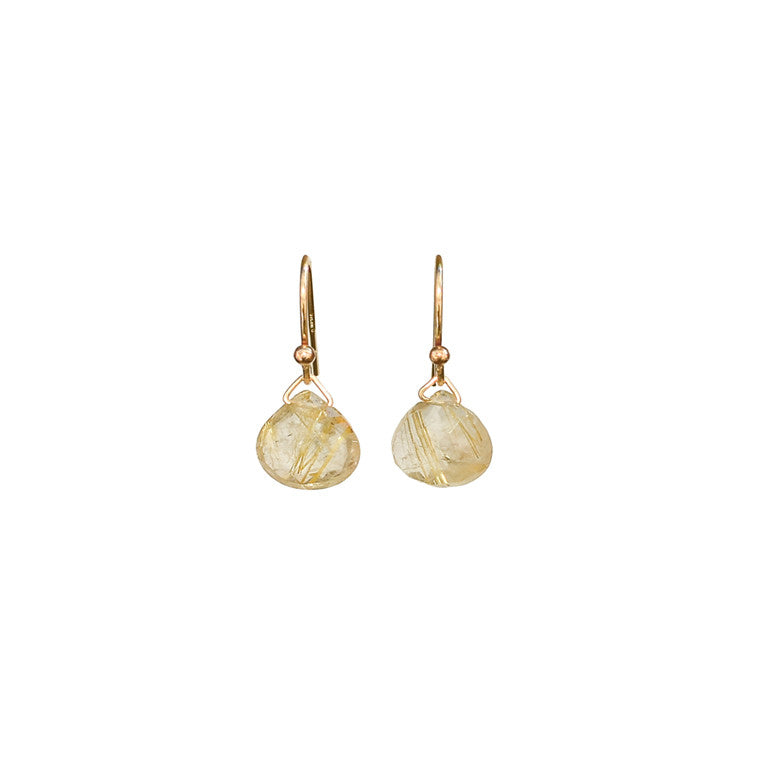 Gold Rutilated Quartz Earrings