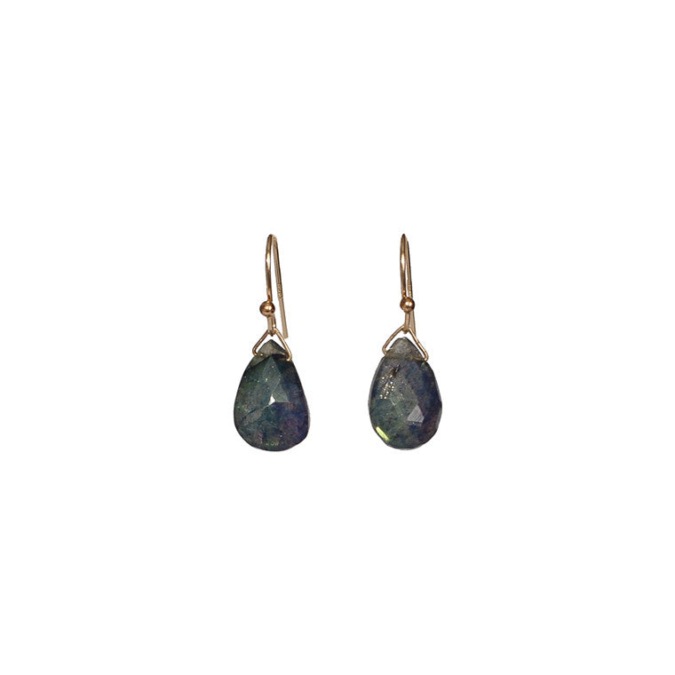 Dark Blue Labradorite Drop Earrings