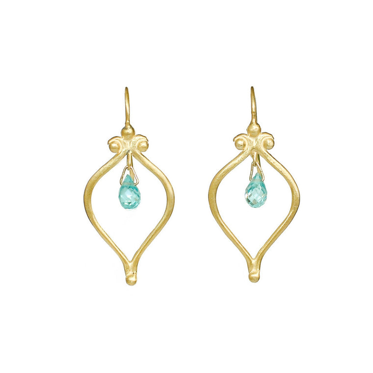 Whats Old is New Vermeil Blue Zircon Earrings