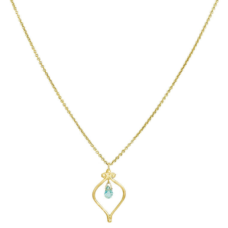 Whats Old is New Blue Zircon Necklace