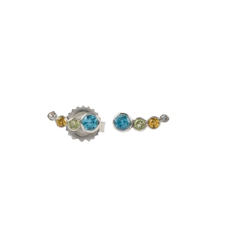 Sterling Silver Blue Topaz Ear Crawlers