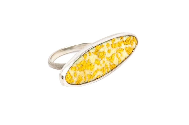 24kt Gold leaf in Enamel Marquise Statement Ring