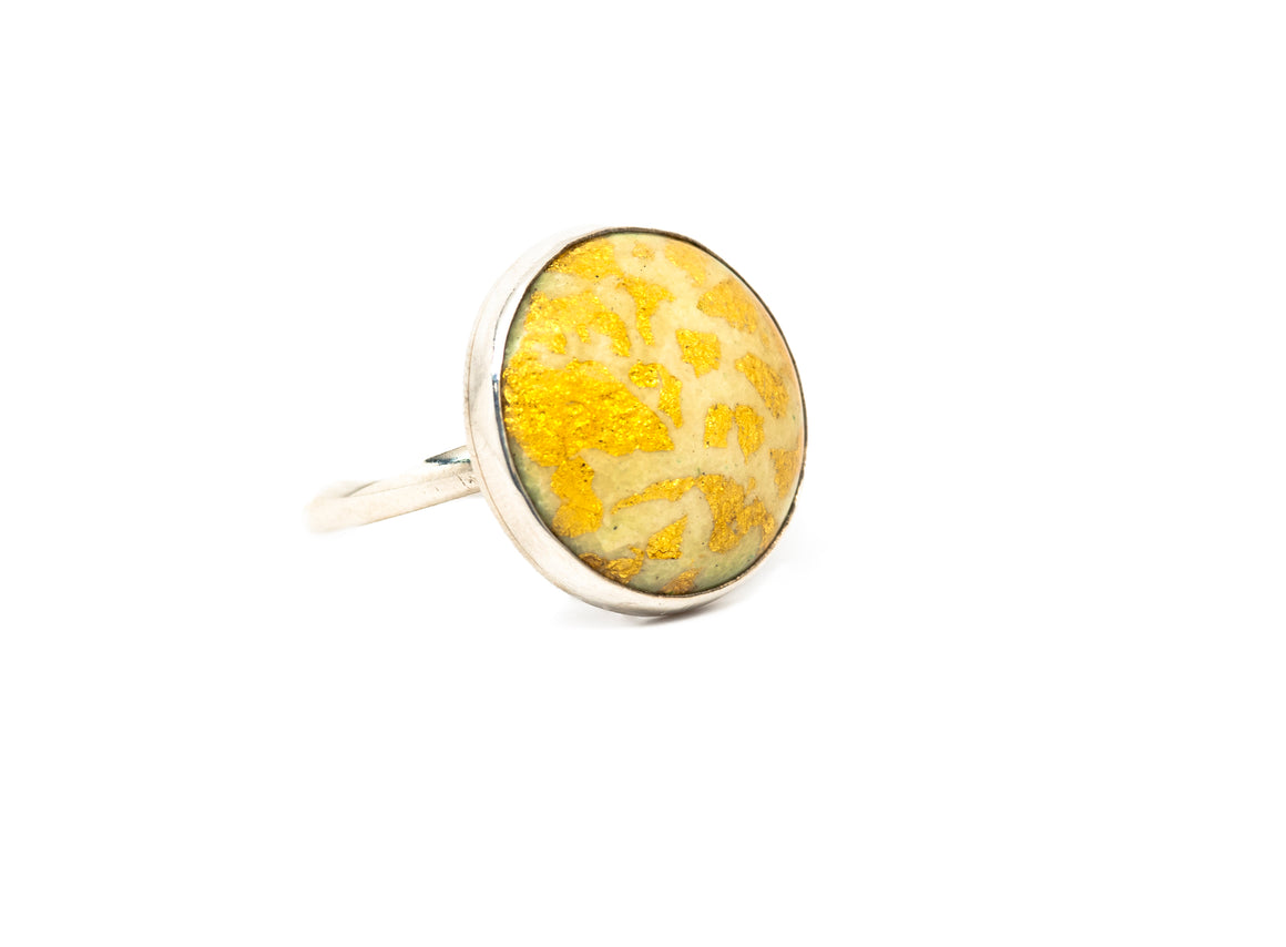 24kt Gold leaf enamel round ring