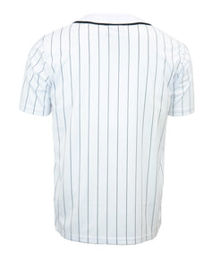 White Pin Striped Baseball Jersey
