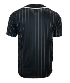 Black Pin Striped Baseball Jersey
