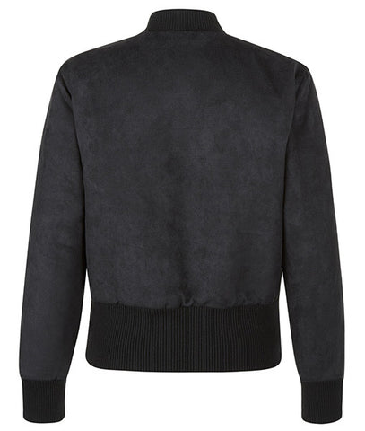 Black Field Cropped Bomber Jacket