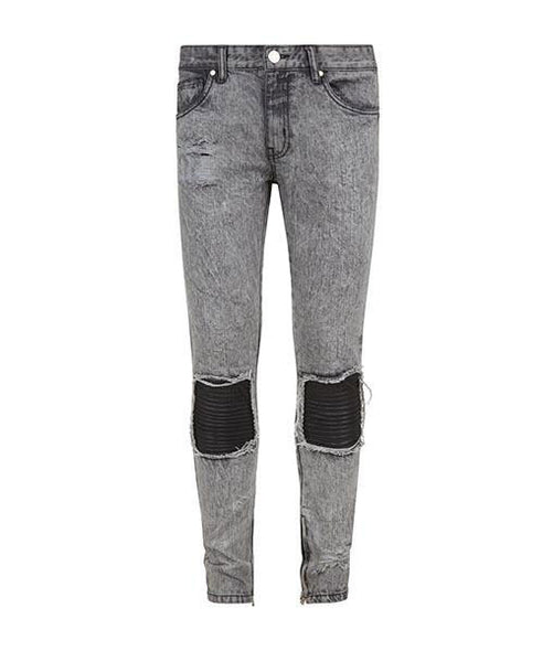 Triple Patch Grey Denim Pants