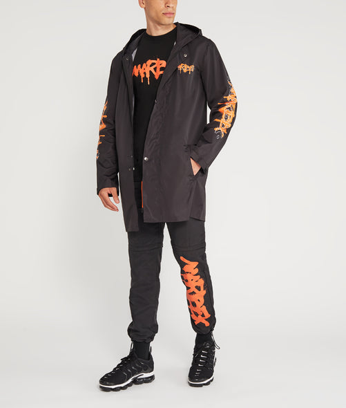 Black and Orange Graffiti Raincoat Marbek