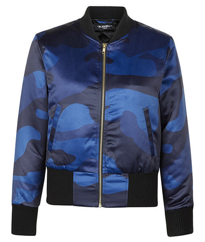 Blue DPM Cropped Bomber Jacket
